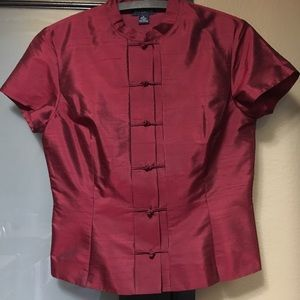 Ann Taylor silk blouse with classic Chinese collar
